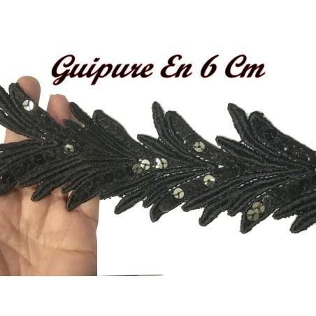 Galon Dentelle Guipure Au Mètre En 6 Cm Noir Avec Paillette Sequins Noir