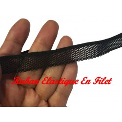 Galon Ruban Au Mètre en Filet Noir Elastique en 17 mm pour Lingerie et Customisations