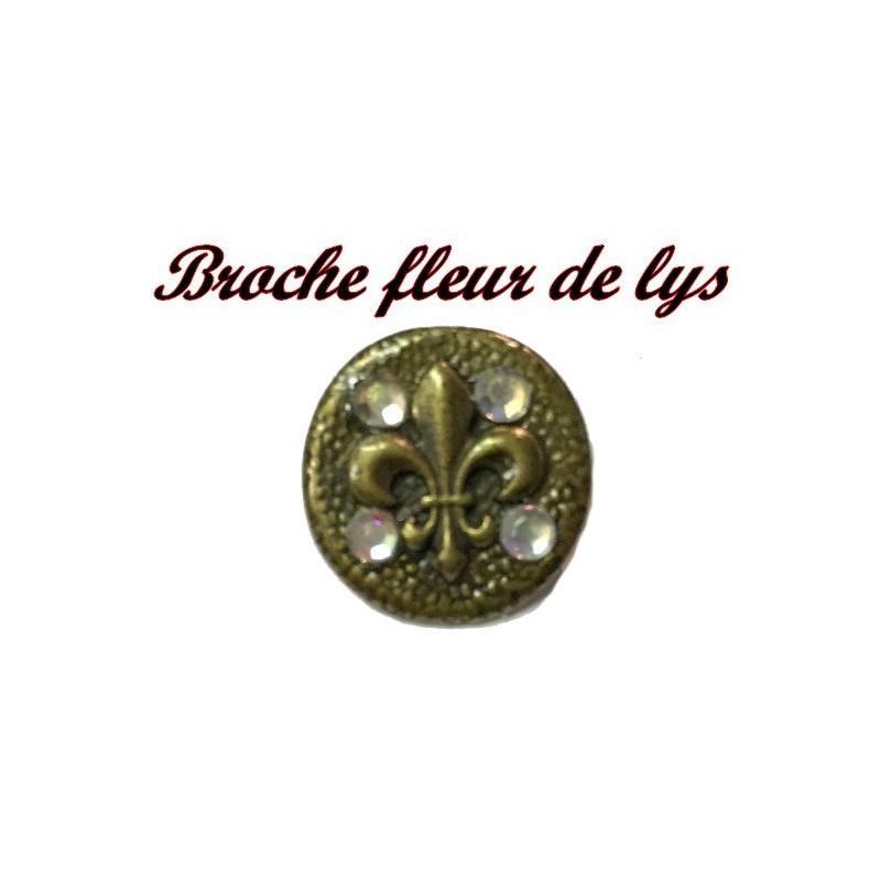 Bouton Broche Motif Fleur Lys En Métal Bronze En T.22 mm Orné De Strass Pour Customisations Et Décorations