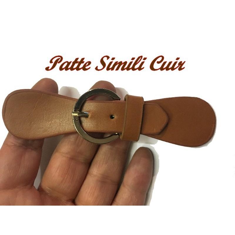 Patte Kilt Attache En Simili Cuir Couleur Marron Tabac à Coudre Pour Décorations Robes, sacs, Customisations.