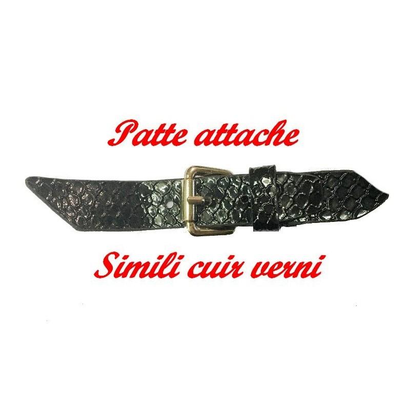 Patte Kilt Attache En Simili Cuir Verni Couleur Noir A Coudre Pour Décorations Robes, sacs, Customisations.