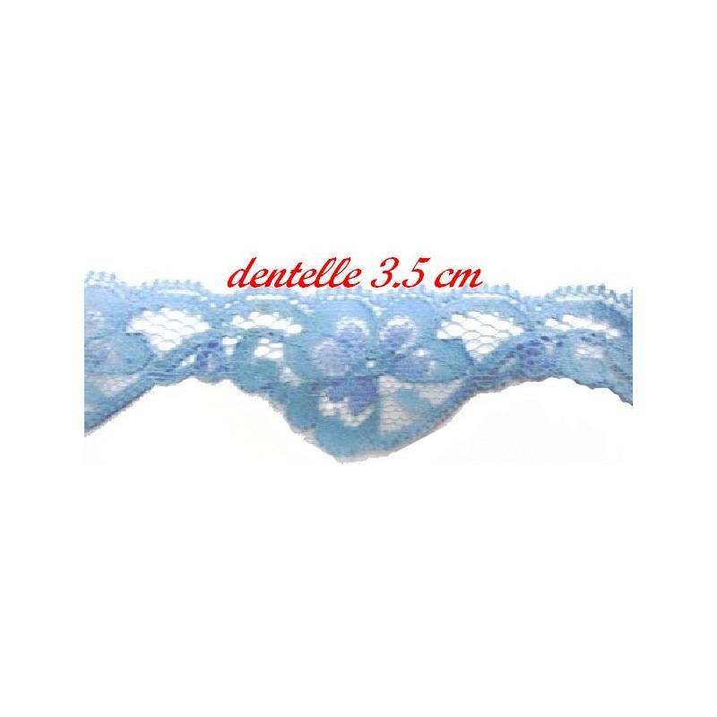 Dentelle A coudre En Couleur Ciel de Largeur 2.5 cm.