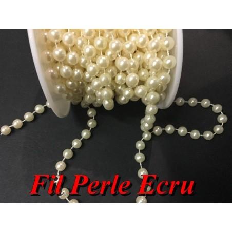 Galon Ruban Perle Au Mètre, Fil Perlé Au Mètre Couleur Ecru Pour Décorations Guirlande Et Loisirs Créatifs