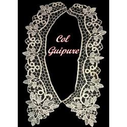 Col En Dentelle Guipure A Coudre couleur Ecru Pour Customisations Et Costumes Vintage