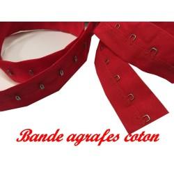 Bande Agrafes Au Mètre Rouge En Tissu A Coudre, Pour Agrafages corsets, Lingerie Et Loisirs créatifs.