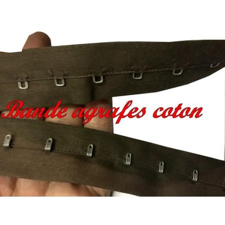 Bande Agrafes Au Mètre Marron En Tissu A Coudre, Pour Agrafages corsets, Lingerie Et Loisirs créatifs.