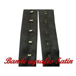Bande Agrafes Satin Noir Au Mètre En Tissu A Coudre, Pour Agrafages corsets, Lingerie Et Loisirs créatifs.