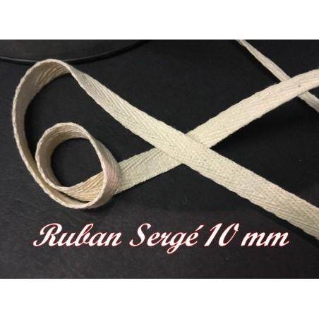 Ruban Sergé au Mètre En 10 mm Ecru En coton A Coudre Pour Loisirs Créatifs Et Décorations.