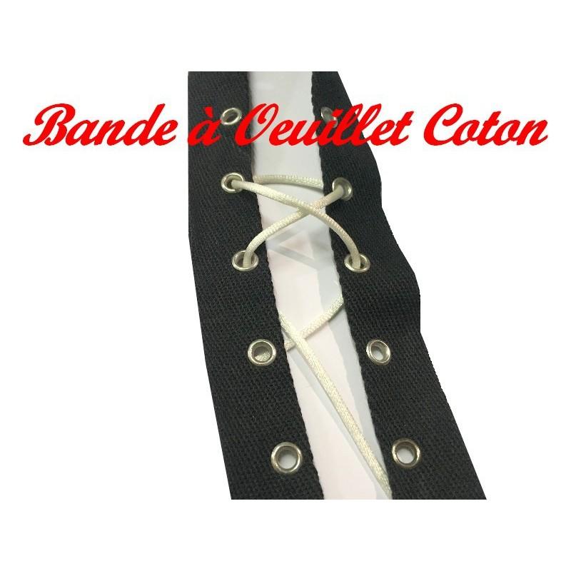 Bande A Oeuillet Au Mètre Sur Sergé Coton Noir A Coudre Pour Agrafage et Serrage