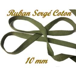 Ruban Sergé En 10 mm Kaki En coton A Coudre Pour Loisirs Créatifs Et Décorations.