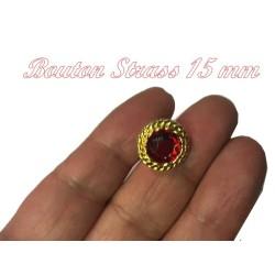 Bouton Strass Rouge A Facette en Taille 15 mm Cerlé Doré Or à Coudre.