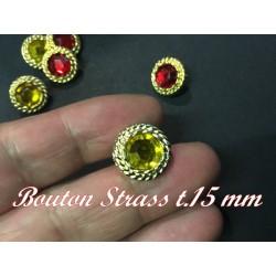 Bouton Strass Jaune A Facette en Taille 15 mm Cerlé Doré Or à Coudre.