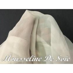 Tissu Mousseline De Soie Crème Au Mètre.