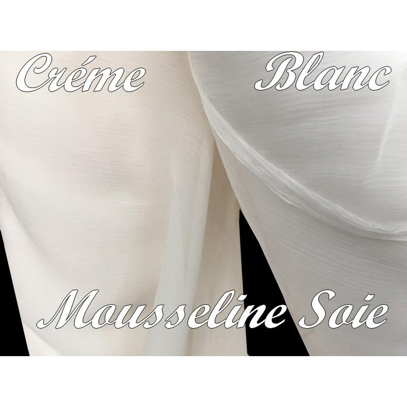 Tissu Mousseline De Soie Créme Au Mètre.