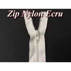 Zip Fermeture Eclair Ecru A Glissière Nylon 20 Cm A Coudre.