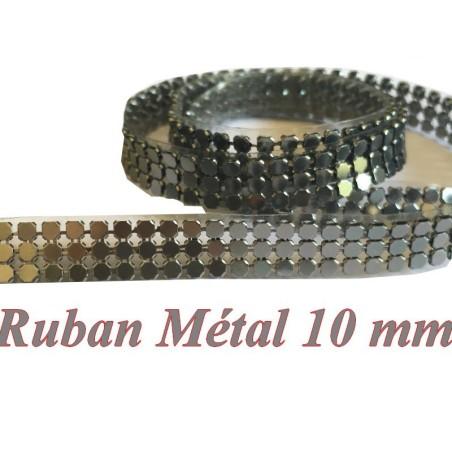 Ruban Métal au mètre En 10 mm Thermocollant En Gris Pour Décorations Et Customisations.