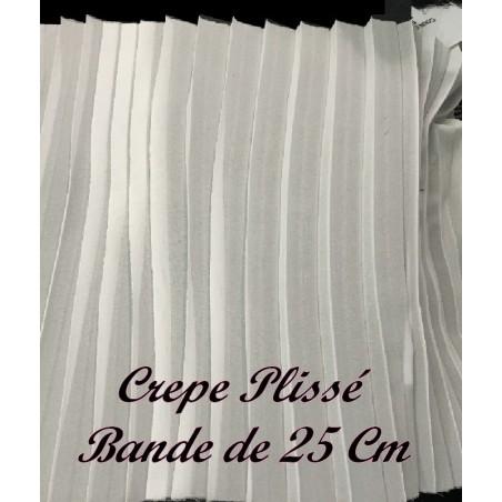 Tissu Crêpe Au mètre Plissé En Polyester Blanc En Bande De 25 Cm A Coudre, Pour Décoration et Customisation.