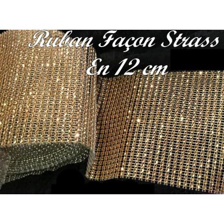 Ruban Façon Strass Au Mètre En 12 cm Couleur Doré Pour Customisations Et Décorations