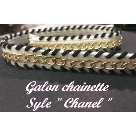 """Galon Au Mètre Style """" Chanel"""" au Mètre Orné de Chainette Doré"""