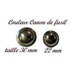 Bouton A Coudre en Forme De Soucoupe En Taille 22 mm Et 30 mm A Queue, En Couleur Canon de Fusil