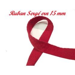 Ruban Sergé Au Mètre En 15 mm Rouge En coton A Coudre Pour Loisirs Créatifs Et Décorations.