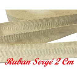 Ruban Sergé Au Mètre En 20 mm Ecru En coton A Coudre Pour Loisirs Créatifs Et Décorations.