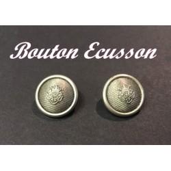 Bouton Ecusson En Argent En Taille 20 mm A Coudre Pour Vetements Et Customisations
