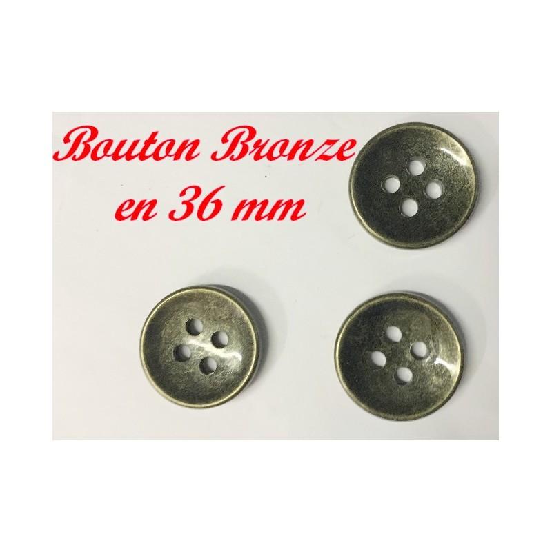 Bouton A Coudre En Couleur Bronze En Taille 36 mm Pour Vetements Et Customisations