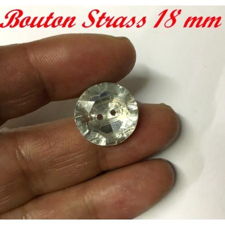 Bouton Strass 2 Trous A Coudre En Taille 18 mm Pour Customisations Et Décorations.