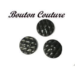 Bouton Fantaisie Couture Noir Brillant En Taille 27 mm Pour Fabrication De Vetements.