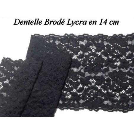 Dentelle Lycra Au Mètre En 14 Cm De Couleur Noire Pour Lingerie Et Customisations.