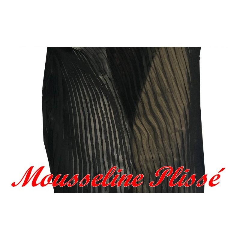 Tissu Mousseline Plissé En Polyester Noir A Coudre, Pour Chemisers, Jupes, Et Customisations.