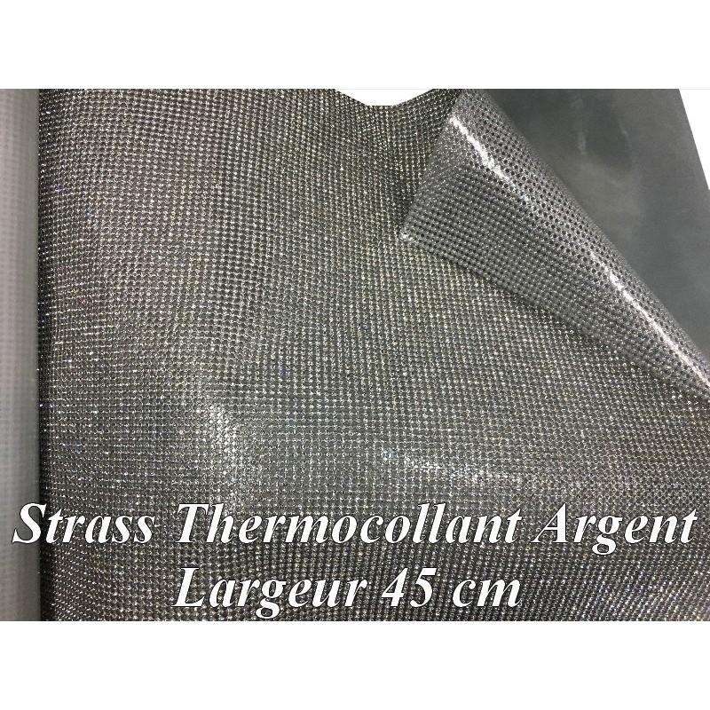 Feuille De Strass Argent en 45 Cm Le Largeur Thermocollant, Pour Loisirs Créatifs Et Décorations Et Customisations