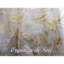 Tissu Organza De Soie Ecru Imprimé En Motif Fleurs Doré.