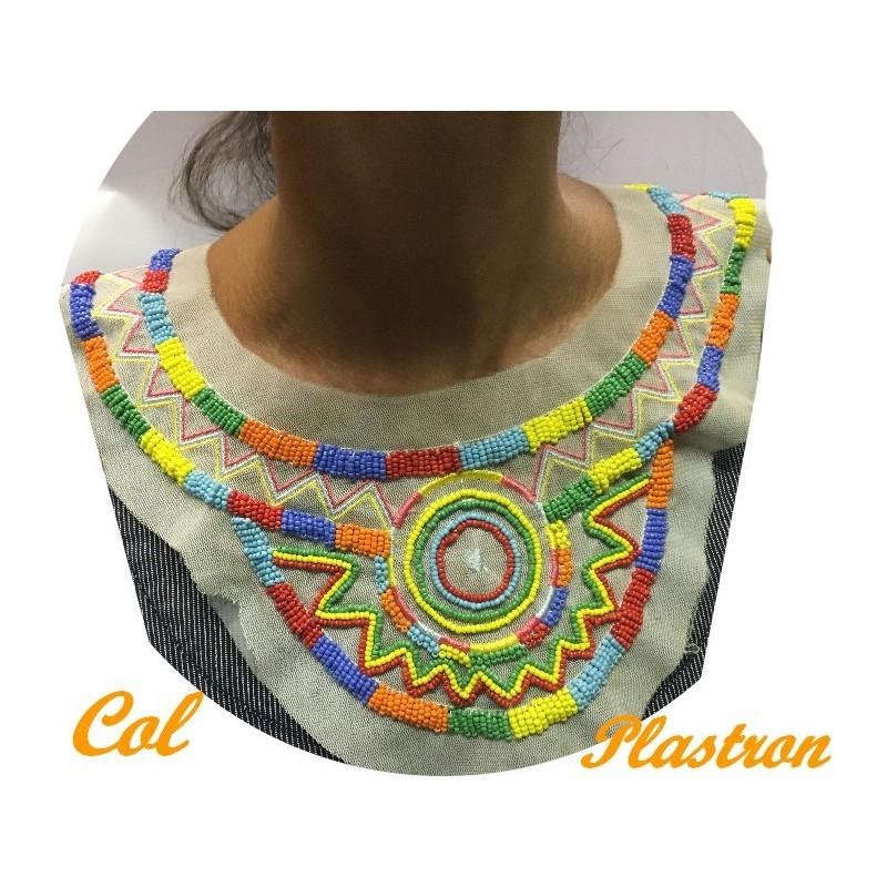 Col Plastron Style Indien A Coudre En Perles Multicolors Pour Customisatiopns Et Décorations