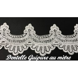 Galon Dentelle Guipure Au Mètre En 11 Cm Blanc, Festonné Pour Customisations Et Décorations.