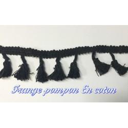 Frange Charleston au Mètre En Pompon Coton Noir Pour Décorations Et Customisations.