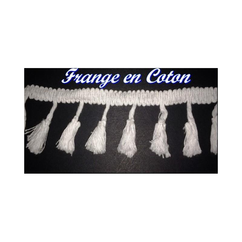 Frange Charleston Au Mètre Pompon Coton Blanc