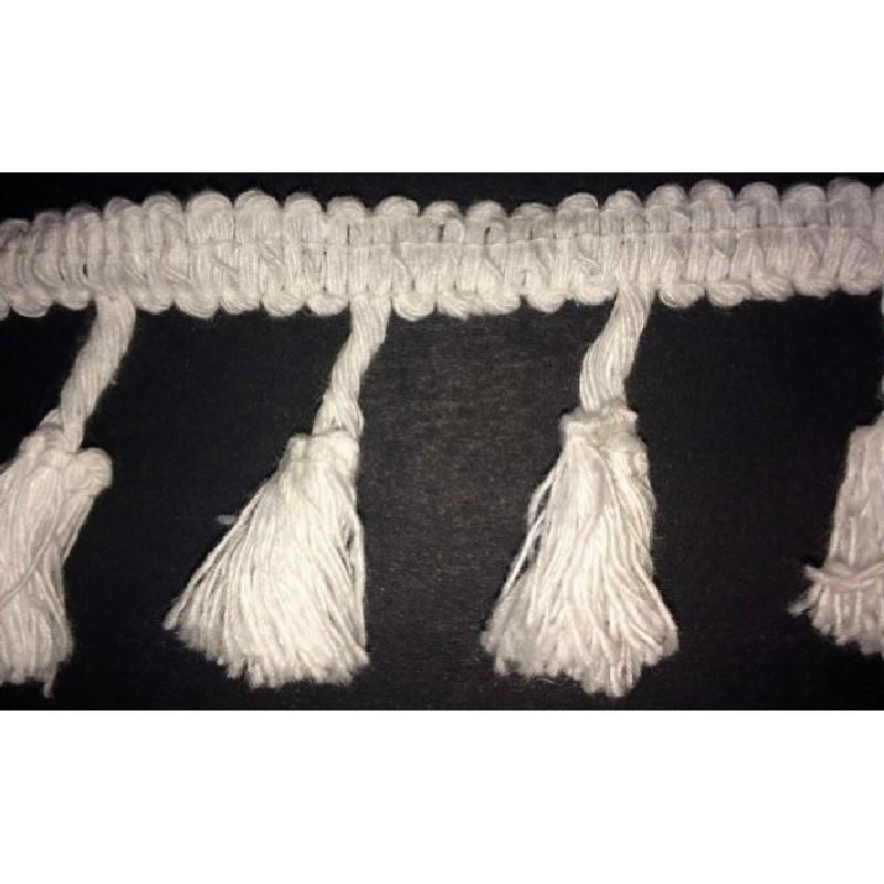 Frange Charleston Au Mètre En Pompon Coton Ecru Pour Décorations Et Customisations.