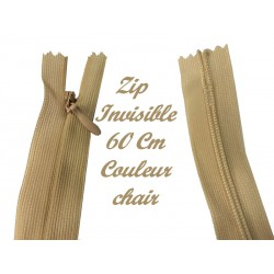 Zip Fermeture Eclair invisible Couleur Chair En 60 cm, Non-Ouvrable A Coudre Pour Robes Et Confections
