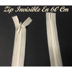Zip Fermeture Eclair invisible Couleur Ecru Créme En 60 Cm, A Coudre