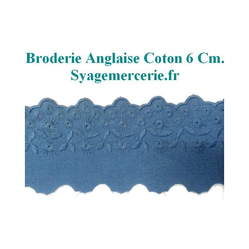 Broderie Anglaise Coton Au Mètre En 6 Cm Bleu Indigo.