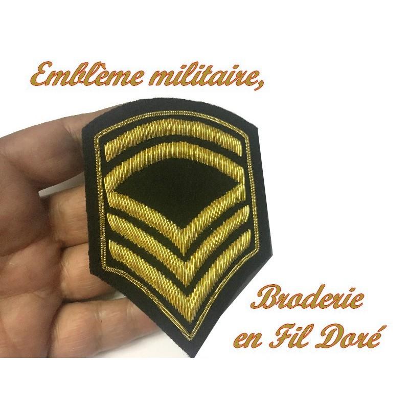 Ecusson Militaire Brodé Fil Doré Or Emblème Patch Epaulette Couture
