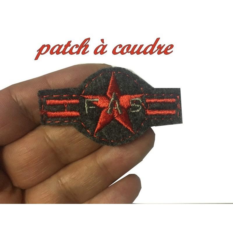 Epaulette Militaire Emblème Ecusson A Coudre 1 Etoile Rouge Sur Fond Gris