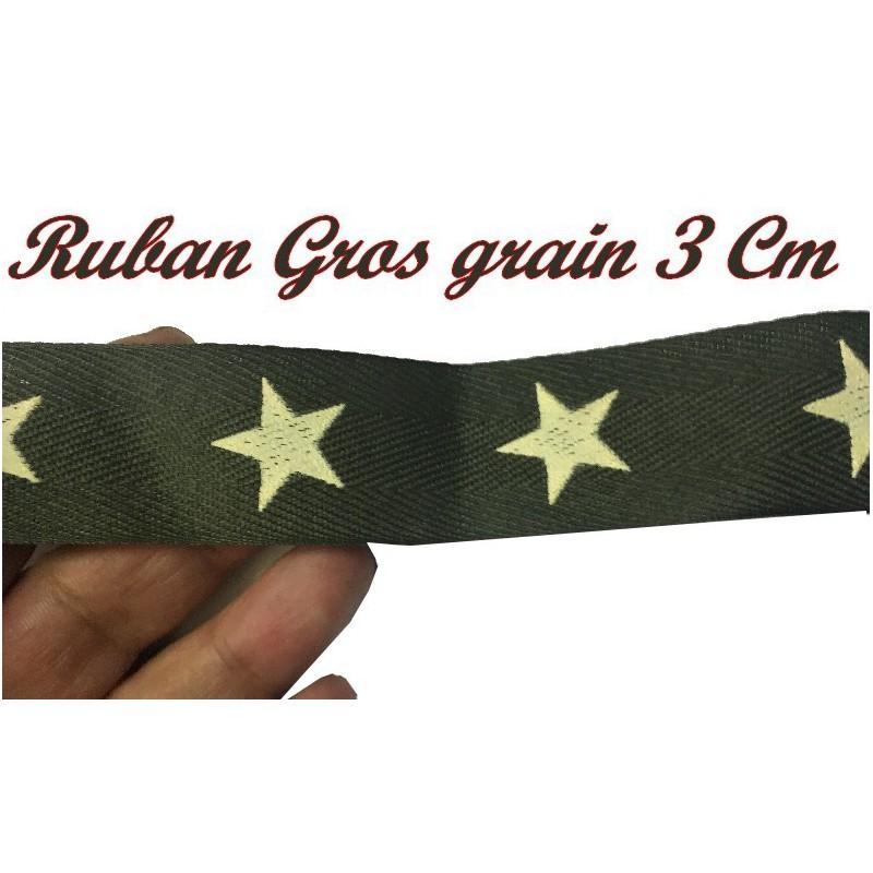 Ruban Gros Grain Au Mètre En 3 Cm Kaki Façon Miltitaire A Coudre Pour Loisirs Créatifs Et Décorations.