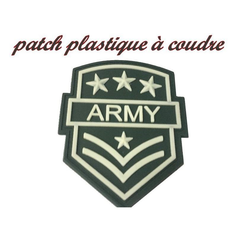 """Ecusson EPaulette Emblème Militaire """" ARMY """" 4 Etoiles En Plastique A Coudre."""