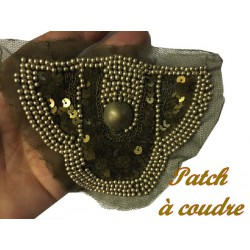 Motif Applique Patch en Sequin Bronze Kaki