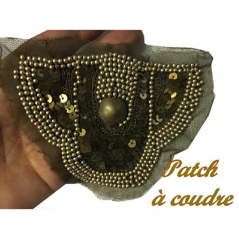 Motif Applique Patch en Sequin Bronze Kaki