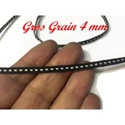 Ruban Gros Grain 4 mm En Point Sellier Blanc sur fond Noir Au mètre A Coudre Pour Loisirs Créatifs Et Décorations.