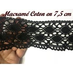 Galon Dentelle Macramé en 7.5 cm cm Noir A Coudre.